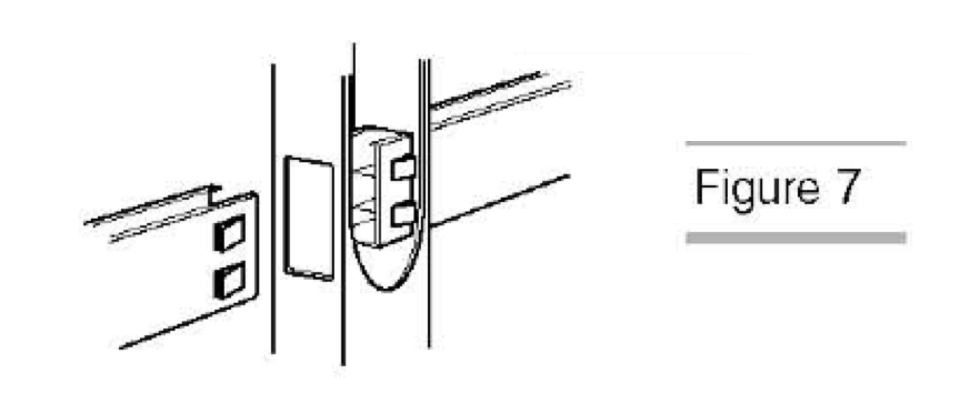 Slide the rail into the bottom hole in the post (Fig.7)