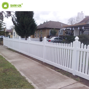 White Flat-Top Privacy Yard House Vinyl Fencing Plastic Garden Fence with England Fence Post Cap
